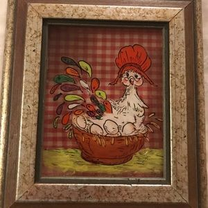 Vintage Handpainted Framed Chicken on Glass